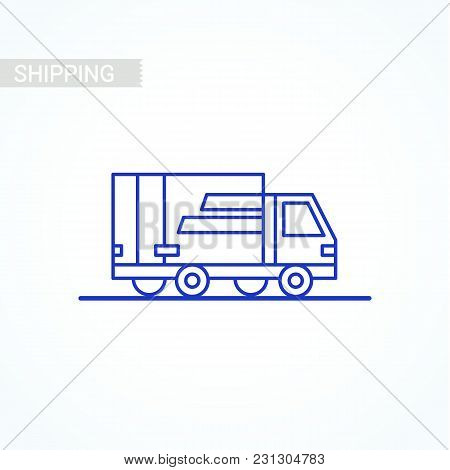 Line Icon- Delivery. Van Outline Icon On White Background. Delivery Service. Shipping By Car Or Truc