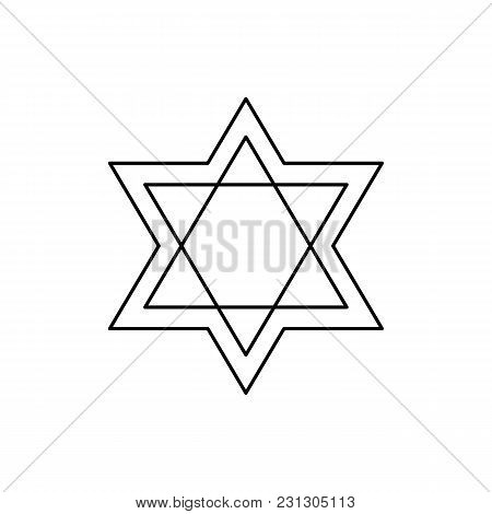Star Of David Icon. Outline Star Of David Vector Icon For Web Design Isolated On White Background
