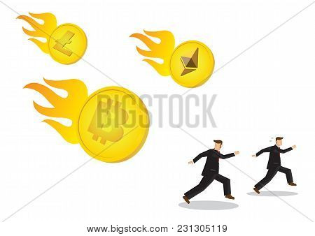 Illustration Of Cryptocurrencies Falling Down From The Sky With Businessman Running Away. Business C