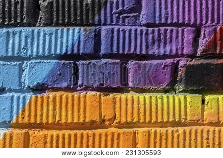 Abstract Detal Of Urban Street Art Design Close-up. Graffity Wall. Modern Iconic Urban Culture, Styl