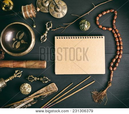 Asian Religious Musical Instruments For Meditation And Alternative Medicine, Blank Notebook With Bro