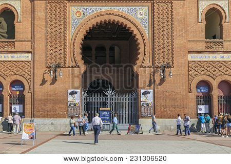 Madrid, Spain - May 24, 2017: This Is Central Entance Of The Arena For Bullfighting In The Square Pl