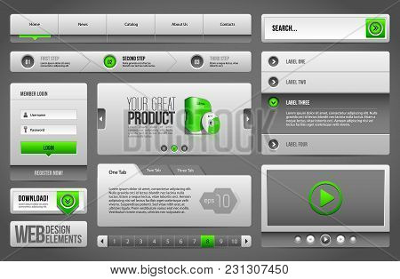 Modern Clean Website Design Elements Grey Green Gray: Icons, Tab, Menu, Navigation Bar, Download, Pa