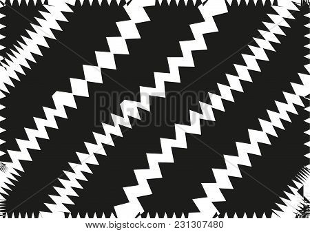 Abstract Wavy Lines. Curved Zigzag Black And White Stripes. Vector Illustration