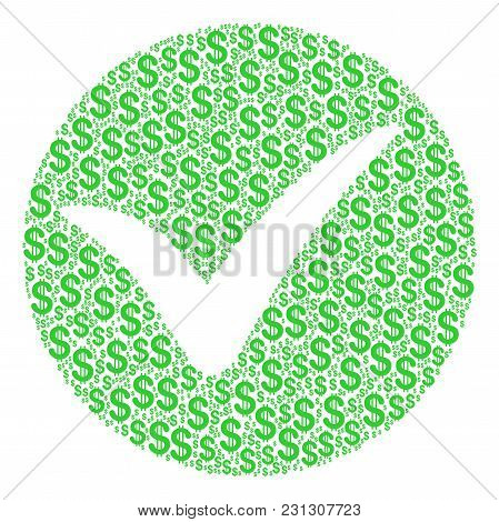 Apply Composition Of Dollars. Vector Dollar Symbols Are Composed Into Apply Illustration.