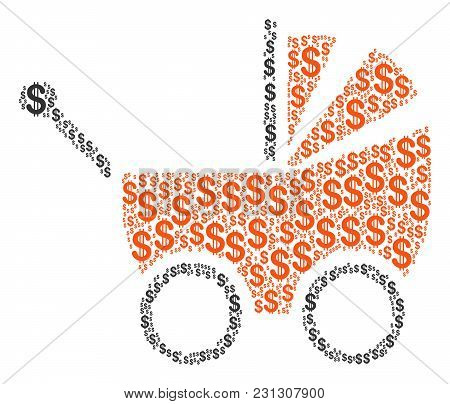 Baby Carriage Collage Of American Dollars. Vector Dollar Symbols Are United Into Baby Carriage Illus