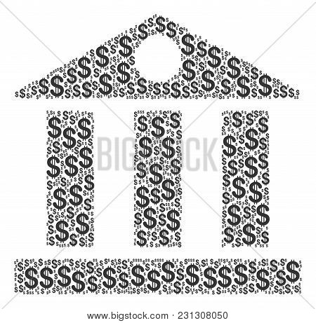 Bank Building Composition Of American Dollars. Vector Dollar Symbols Are Organized Into Bank Buildin