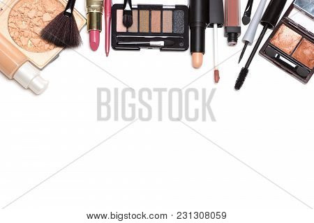 Day Makeup Set. Beauty Products For Natural Make-up On White Background With Copy Space