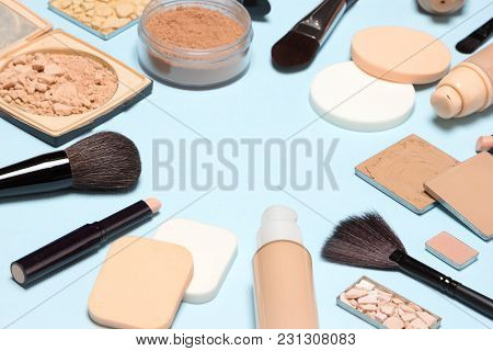 Corrective Makeup Set With Copy Space. Concealers, Primer, Foundation With Correcting, Highlighting,