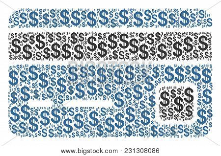 Bank Card Composition Of American Dollars. Vector Dollar Symbols Are Organized Into Bank Card Illust