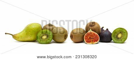Pear, Kiwi And Figs On A White Background. Horizontal Photo.