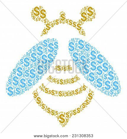 Bee Collage Of Dollar Symbols. Vector Dollar Icons Are Organized Into Bee Collage.