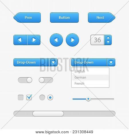 Blue Light User Interface Controls. Web Elements. Website, Software Ui:  Navigation Bar, Menu, Input