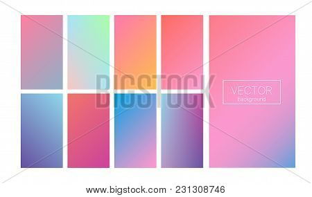 Screen Gradient Set With Modern Abstract Backgrounds. Colorful Fluid Covers For Calendar, Brochure,