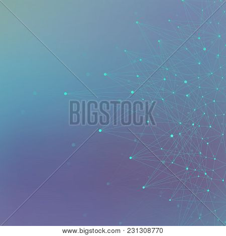 Geometric Blue Background Molecule And Communication. Connected Line With Dots, Illustration.