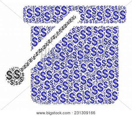 Bucket Mosaic Of Dollar Symbols. Vector Dollar Currency Pictograms Are Composed Into Bucket Mosaic.