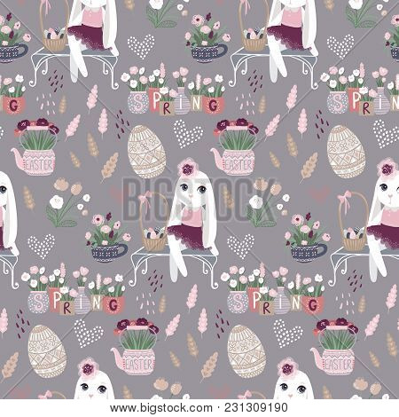 Easter Seamless Pattern With Bunny, Eggs Flowers. Vector Spring Illustration. Funny Fashion Rabbit.