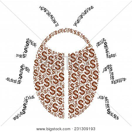 Bug Composition Of Dollars. Vector Dollar Pictograms Are Grouped Into Bug Mosaic.