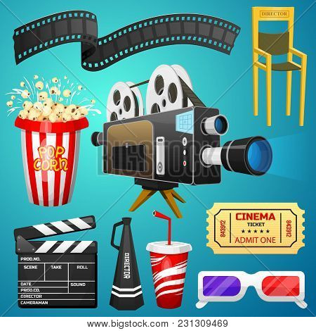 Movie Elements Set. Vintage Cinema, Entertainment And Recreation With Popcorn. Retro Poster Backgrou