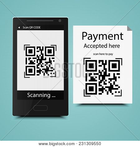 Mobile Scan Qr Code On Paper Accepted Here, Smartphone Scanning Qr Code Interface.technology And Bus
