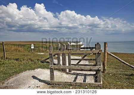 Seaford, Sussex, Uk - August 15 : Seven Sisters In Sussex On August 15, 2013. Gate.