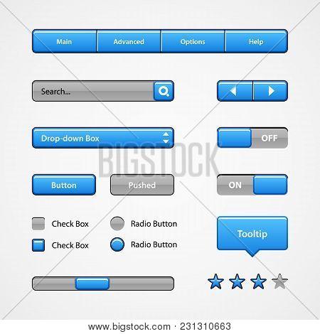 Clean Light Blue User Interface Controls. Web Elements. Website, Software Ui: Radio, Scroller, Input