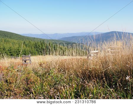 Scenic View On Moravian-silesian Beskids Mountains Range Landscapes Seen From Lysa Hora Mount In Cze