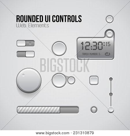 Web Ui Controls Design Elements: Buttons, Switchers. Eps 10