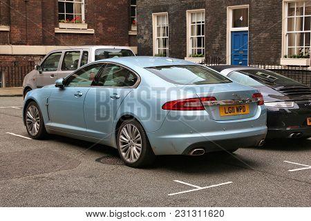 London, Uk - July 9, 2016: Jaguar Xf Mid Size Luxury Car Parked In London, Uk. In 2014 81,570 Jaguar