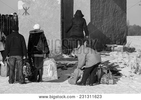 Zabolottia, Volyn / Ukraine - January 20 2009: Women Near The Public Toilet In The Winter Market