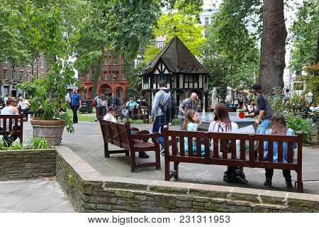 London, Uk - July 9, 2016: People Visit The Park At Soho Square In London, Uk. London Is The Most Po