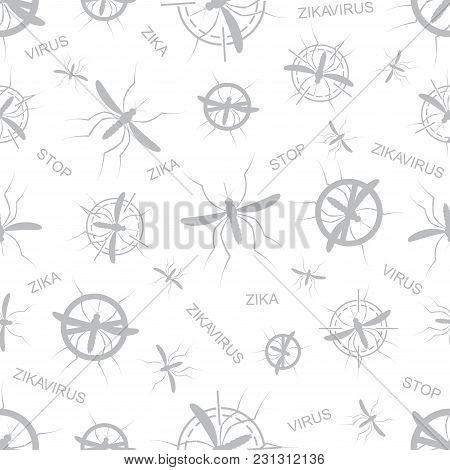 Zika Virus Seamless Pattern. Aedes Aegypti Seamless Pattern Texture Background.