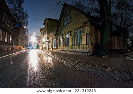 Narrow Street By Winter Night