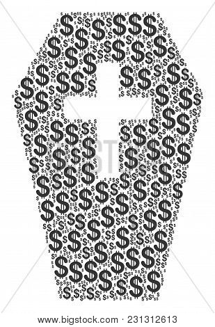 Coffin Collage Of Dollar Symbols. Vector Dollar Currency Pictograms Are United Into Coffin Compositi