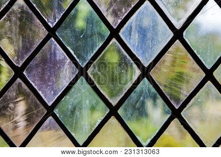 The Colorful Stained Glass Pattern In Old House