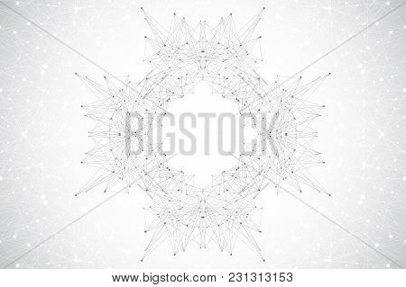 Geometric Abstract Mandala With Connected Line And Dots. Graphic Composition For Medicine, Science,