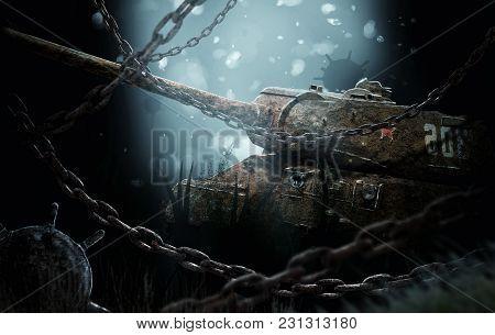 Sunken tank near the underwater mines. Underwater combat scenario poster