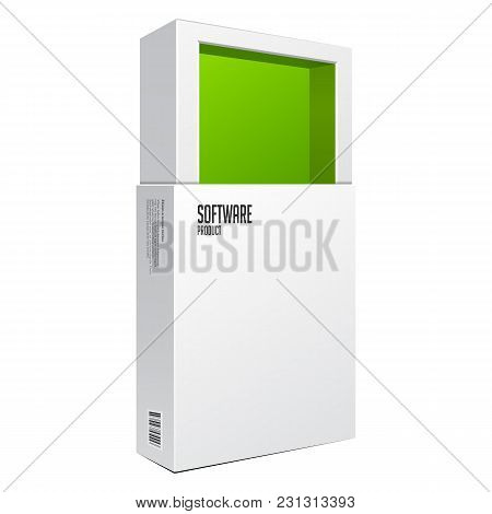 Opened White Modern Software Package Box Green Inside For Dvd, Cd Disk Or Other Your Product Eps10