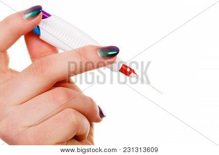 Dentistry And Orthodontist Concept. Woman Holding Toothbrush Special Made For Teeth With Braces