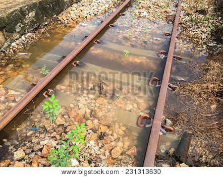 Flood In Old Rail Track At Thailand