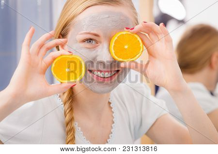 Facial Dry Skin And Body Care, Complexion Treatment At Home Concept. Happy Young Woman Having Grey M