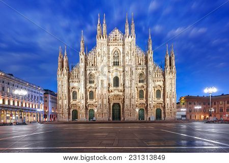 Piazza Del Duomo, Cathedral Square, With Milan Cathedral Or Duomo Di Milano During Morning Blue Hour