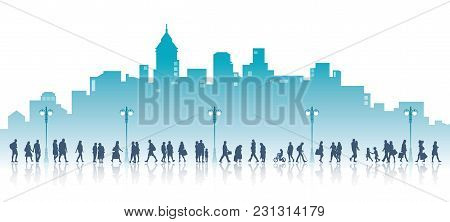 People On A Walk, The City With High Buildings In The Background. Families, Couples, Kids And Elderl
