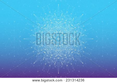 Geometric Abstract With Connected Line And Dots, Radial Graphics. Minimalism Chaotic Background Visu
