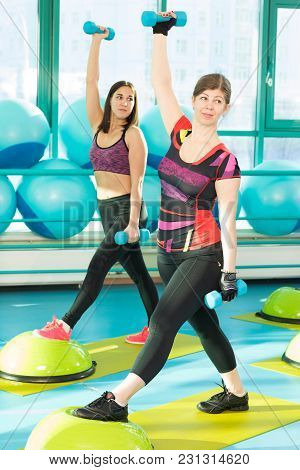 Women Doing Workout Exercise With Dumbbells Standing On Balance Board In A Gym