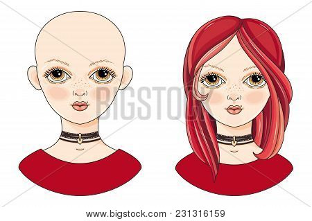Avatar Beautiful Redheaded Girl. Cartoon Style. Kinky And Shaved Naked Teen. Portrait Of A Woman. Ve