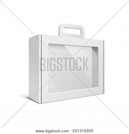 Carton Or Plastic White Blank Package Box With Handle. Briefcase, Case, Folder, Portfolio Case. Illu