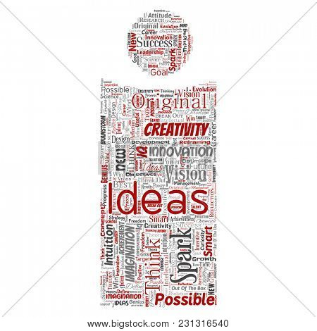 Conceptual creative idea brainstorming human letter font I word cloud isolated background. Collage of spark creativity original, innovation vision, think, achievement or smart genius concept