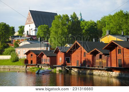 The Old Embankment And The Lutheran Cathedral In The June Evening. Porvoo, Finland