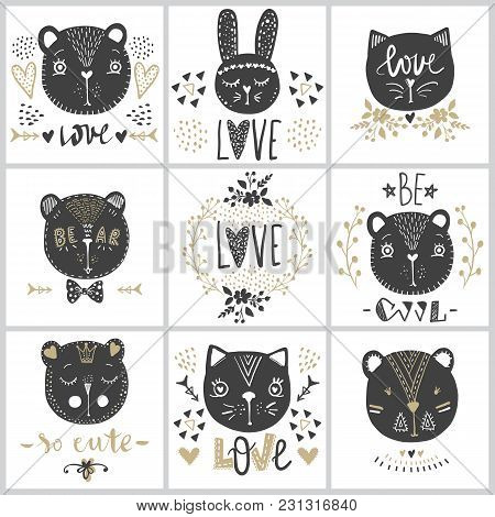 Set With Vector Greeting Cards On Valentine's Day.